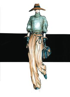 fashion rendering - Mariana Cino #fashion #illustration #frottage #pastels #pretporter #hat #catwalk #marianacino