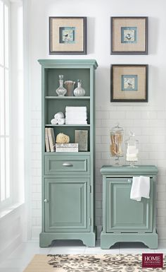 Store toiletries, washcloths, towels and more in beautiful bathroom furniture. Our Sadie Linen Cabinet and Hamper offer storage space and great style for the bath. The pieces has a fresh antique finish with complementary silver metal hardware. Coordinates with other Sadie furniture pieces like the bath vanity and bath mirror. Available at Home Decorators Collection.