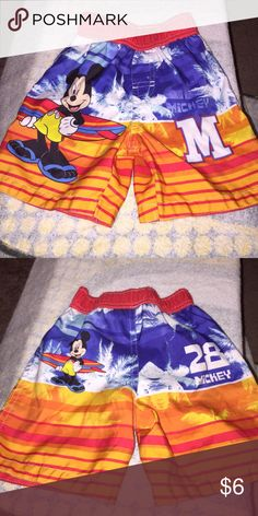 Mickey Mouse swim trunks Toddler swim trunks used but in really good condition no rips or stains like new size 24months Disney Swim Swim Trunks