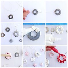 Make decoden cake charm necklaces using collage clay Babble Dabble Do, Washer Necklace, Charm Necklaces, Mod Melts, Decoden, Hama Beads, Diy Jewelry, Activities For Kids, Polymer Clay