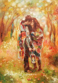 Купить Оттенки любви - подарок влюбленным, влюбленные, картина любовь, картина…