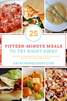 I love to cook good food for my family! But on weeknights, I'm often in a time crunch because of all the other commitments we have going on and quick dinners are a life saver. Try one of these 25 different 15 minute meal recipes tonight! Easy Homemade Recipes, Easy Delicious Recipes, Frugal Meals, Quick Meals, Easy Dinners, Dinner On A Budget, Dinner Ideas, 15 Minute Meals, Best Breakfast Recipes