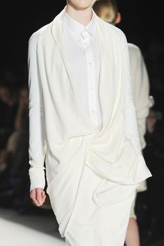 White shirt dress with integrated soft drape - garment construction; layered fashion details // Parkchoonmoo Fall 2013