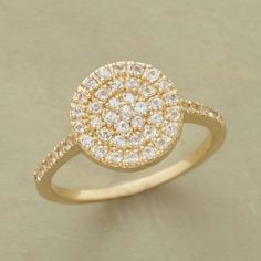 SEARCHLIGHT WHITE SAPPHIRE RING--Countless white sapphires are prong set within a gleaming circle of 14kt gold, evoking a beacon of light. A Suzanne Kalan design handcrafted in USA. Whole sizes 5 to 8.