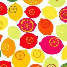 white lemon fruit fabric by Robert Kaufman fabric