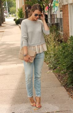Perfect combo of chic & casual! The ruffles under the sweater are super cute. @PPF Girl