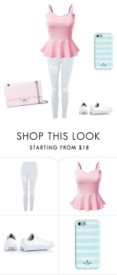 """""""Untitled #162"""" by taftlilli ❤ liked on Polyvore featuring Topshop, Doublju, Converse, Kate Spade and Chanel"""