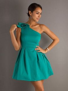 Blue A-Line/Princess One Shoulder Short/Mini Light Cocktail Dress CD0B09
