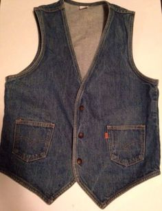 Mens Levis Vintage Orange Label Denim Biker Trucker Cowboy Western Vest Medium $40 #levi #denimfashions #mensvest #truckers #bikersclub