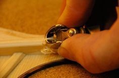 Bamburg Custom Handmade Acoustic Guitar. Brace carving with finger plane.