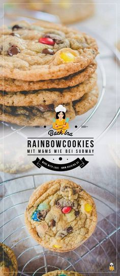 Rainbow Cookies: Cookies mit M&Ms wie bei Subway You would like to make cookies like Subway itself? Then I have a recipe here for Rainbow Cookies, ie cookies with M & Ms for you! The perfect chewy cookies in american style Subway Cookie Recipes, Easy Cookie Recipes, Cake Recipes, Snack Recipes, Snacks, Dinner Recipes, Brownie Cookies, Crack Crackers, Recipes
