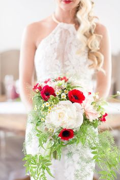 Whimsical Summer Bouquet in Blush and Red | Amy and Jordan Photography | http://heyweddinglady.com/retro-glam-wedding-shoot-poppy-red-gold/