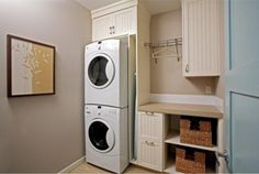 Image of Modern Laundry Room Interior Design Matched by Grey Wall Paint Colors with White Oak Hardwood Flooring with White Oak Hardwood Flooring Modern Laundry Room Interior Design Matched by Grey Wall Paint Colors Wooden Hanging File Cabinet Along Double Washing Machine