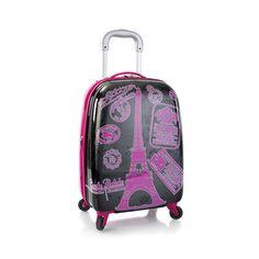 "Heys Luggage Eiffel Tower Carry On Hardcase Girls 20"" Pink Spinner Suitcase TSA #Heys"