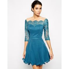 Chi Chi London Lace Prom Dress with Lace Bardot Neck (66 AUD) found on Polyvore featuring dresses, teal, teal blue dress, sheer sleeve dress, blue lace cocktail dress, see through dress and cocktail prom dress