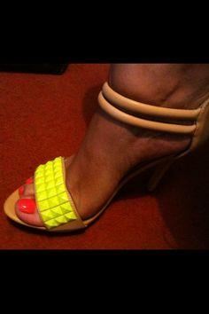 neon studded heels