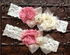 Wedding Garter Bridal Garter Peach Garter Set by TheRaggedDiamond