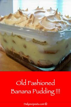 Old Fashioned Banana Pudding ! Daily Recipes The post Old Fashioned Banana Pudding ! Daily Recipes appeared first on Dessert Factory. Pudding Poke Cake, No Bake Banana Pudding, Banana Pudding Desserts, Homemade Banana Pudding, Banana Recipes, Köstliche Desserts, Delicious Desserts, Dessert Recipes, Lemon Desserts