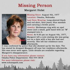 Did you know Margaret Holst? More information is desperately needed to solve her case! Missing Loved Ones, Missing Persons, Have You Seen, Did You Know, Criminology, Brown Purses, True Crime, Nebraska, Mysterious