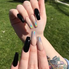Black and neutral coffin nails with holo tips #trythisnails