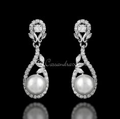 Delicate CZ Drop Earrings with Pearls