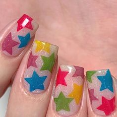 "Jelly star nails using the new ""Rainbow Splash"" collection from ⭐️🌈💖 This collection comes with 6 semi tinted polishes you… Rainbow Star, Star Nails, Nail Art Videos, Nail Stamping Plates, Nail Tutorials, Glitter Nails, Jelly, Polish, Stars"