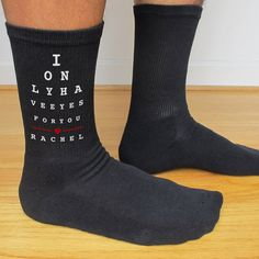 I Only Have Eyes For You Valentine's Day Socks custom printed and personalized by SockprintsOnEtsy