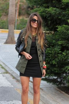 Black Dress Jacket leather sleeves a Hit
