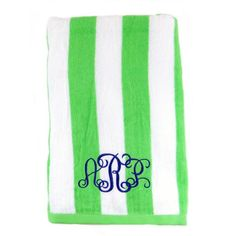 "Lime Cabana Stripe Monogrammed Beach Towels - Perfect for pool, beach, lake, bath, or spa day, our  100% Cotton Terry Loop Cabana Stripe Monogrammed Beach Towels are big, soft and luxurious! Definitely a dorm or sorority house ""must have"" for back to school college life. Also, precious for Preschoolers and Kindergartners for naptime! Personalize with your favorite frame and monogram. BeauJax Boutique www.beaujax.com"