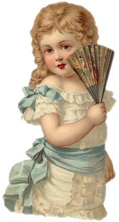Victorian Scrap designs - Joyce hamillrawcliffe - Picasa Web Albums. Vintage blonde girl with fan and blue sash.