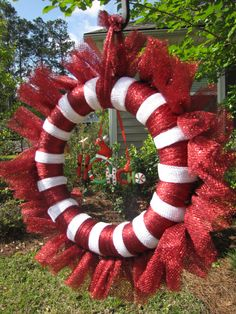 "Metallic Candy Cane Christmas Tulle Wreath with ""Ho, Ho, Ho"" Ornament - pinned by pin4etsy.com"