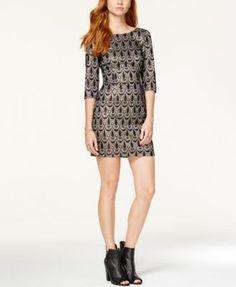 BCX Juniors' Foil Lace Sheath Dress