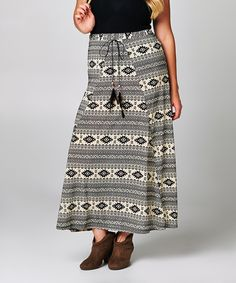 Loving this A La Tzarina Black & White Geo Maxi Skirt - Plus on #zulily! #zulilyfinds