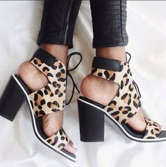 shoes leopard print laceup heels chunky