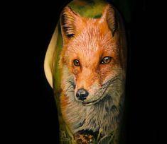 Fox tattoo by El Mori Tattoo Fox Tattoo, World Tattoo, Tattoos Gallery, Skin Art, Tattoo Images, Cool Tattoos, Horses, Artist, Artwork