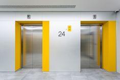 Тинькофф банк - OfficeNext Corridor Design, Hall Design, Signage Design, Floor Design, Ceiling Design, Lobby Interior, Office Interior Design, Office Interiors, Elevator Lobby Design