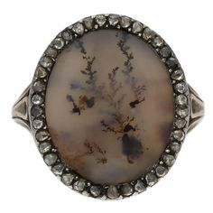 1780 Georgian Moss Agate Diamond Silver Gold Ring | From a unique collection of vintage cluster rings at https://www.1stdibs.com/jewelry/rings/cluster-rings/