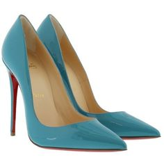 Christian Louboutin Pumps - So Kate 120 Patent Leather Pumps Light... ($610) ❤ liked on Polyvore featuring shoes, pumps, blue, light blue pumps, slip-on shoes, pointy-toe pumps, blue stilettos and patent leather pumps