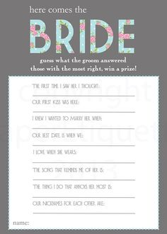 Printable Bridal Shower Games - I kind of like this game @Tanya Knyazeva Knyazeva Knyazeva Philippi @Cristina Abraham @Amber Parker @gracia fraile fraile Gomez-Cortazar Mierwa: