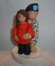 Expecting Military Couple Figurine  Cake Topper by gingerbabies, $50.00