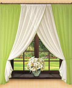 Комплект штор «Тин» зеленого цвета