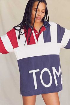 Vintage Tommy Hilfiger '90s Oversized Colorblocked Rugby Shirt