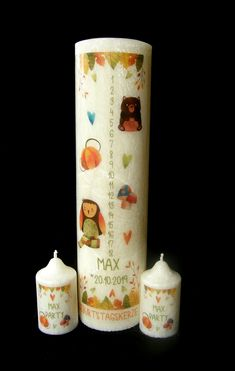 Stearin Birthday XL Candle 30 cm - Till 18. years - Names Date - Autumn Design Geburtstagskerze 1-18 Herbst Paraffin Candles, Candle Wax, Scented Candles, Pillar Candles, Crystal Snowflakes, Small Candles, Handmade Candles, Allergies, Birthday Candles