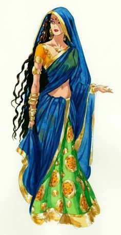 Beautiful drawing of Indian woman in traditional clothing, ghagra choli with long dupatta, long hair and ethic jewellery, from: Best Ideas For Fantasy Art Sketch Illustrations Drawings. Indian Illustration, Illustration Mode, Fashion Illustration Sketches, Fashion Sketches, Art Sketches, Drawing Fashion, Indian Women Painting, Indian Art Paintings, Fantasy Kunst