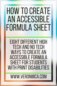 Eight different high tech and no tech ways to create an accessible formula sheet for students with print disabilities Assistive Technology, Educational Technology, Microsoft Classroom, 504 Plan, Special Education, Higher Education, Core Curriculum, Good Grades, School Psychology