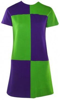 purple and green block print dress- why do I want this so bad? Sixties Fashion, 60 Fashion, Fashion History, Retro Fashion, Vintage Fashion, Fashion Design, Vintage Style Dresses, Vintage Outfits, Vintage Clothing