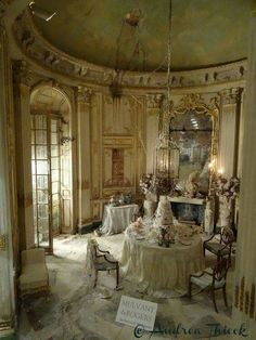 Andrea Thieck Miniatures (Miss Havisham's Wedding Breakfast by Mulvany & Rogers - a new scene for the 2015 Kensington Dolls House Fair. Miniature Rooms, Miniature Houses, Miniature Furniture, Dollhouse Furniture, Doll Furniture, Miss Havisham, Fairy Houses, Doll Houses, Victorian Dollhouse