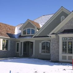 Exterior Stone Siding and Hardie Board - traditional - exterior - chicago - North Star Stone Stucco Exterior, Craftsman Exterior, Exterior Design, Exterior Homes, Craftsman Style, Exterior Paint Colors, Exterior House Colors, Siding Colors, Brick Colors