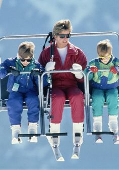 April 10, 1991: Diana, Princess of Wales with her two sons, Prince William & Prince Harry on a chair-lift during a ski holiday In Lech, Austria.