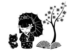 Wall Decals Kokeshi & Cat- WALLTAT.com Art Without Boundaries